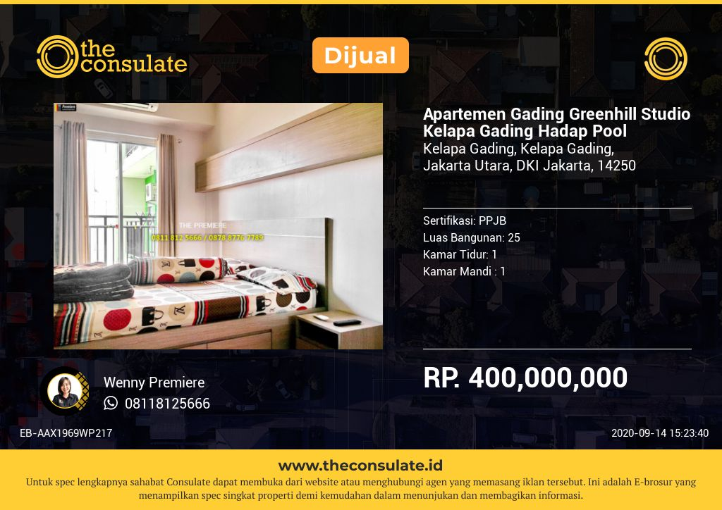 Apartemen Gading Greenhill Studio Kelapa Gading Hadap Pool