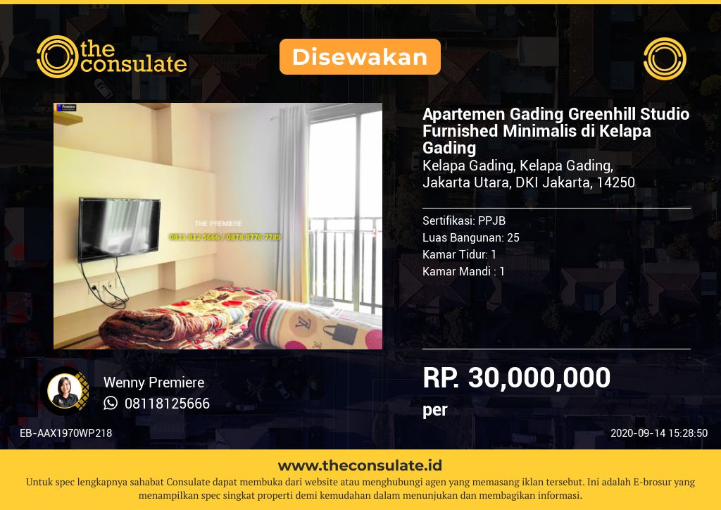 Apartemen Gading Greenhill Studio Furnished Minimalis di Kelapa Gading