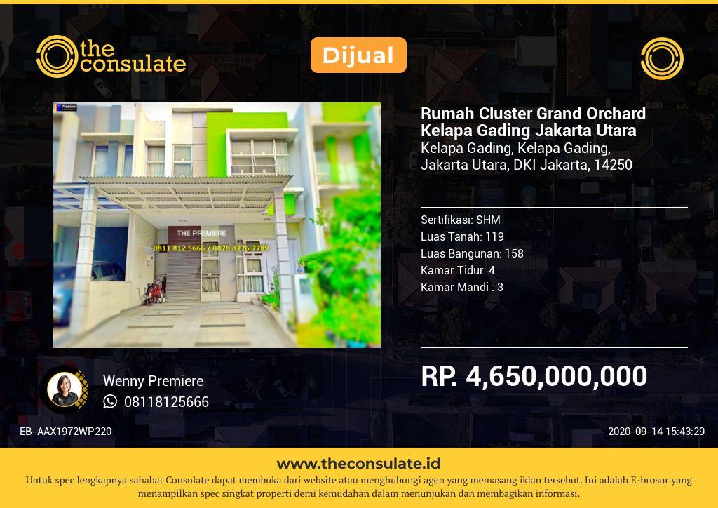 Rumah Cluster Grand Orchard Kelapa Gading Jakarta Utara