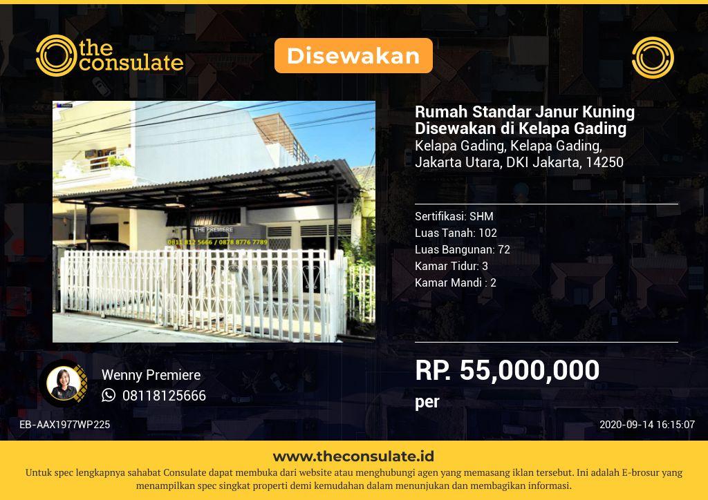 Rumah Standar Janur Kuning Disewakan di Kelapa Gading