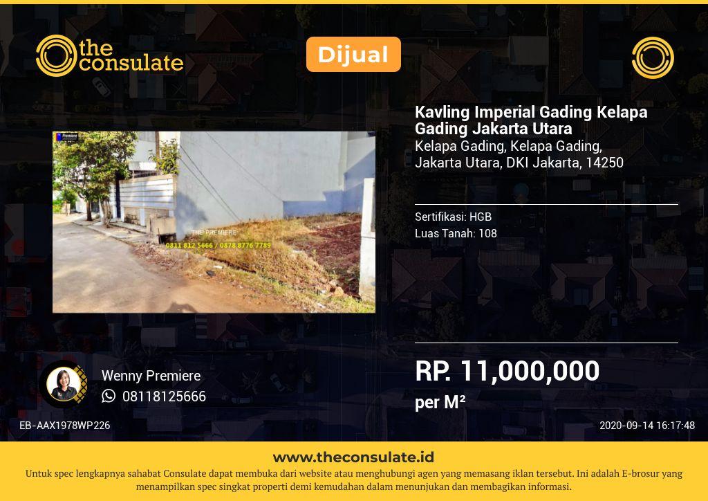 Kavling Imperial Gading Kelapa Gading Jakarta Utara