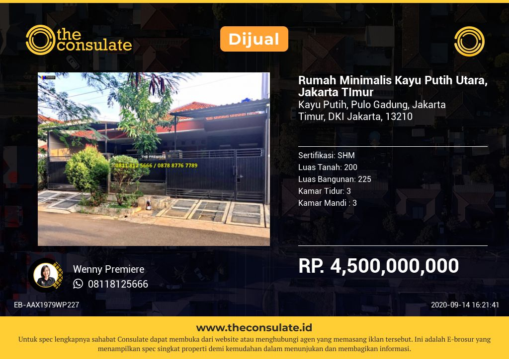Rumah Minimalis Kayu Putih Utara, Jakarta TImur