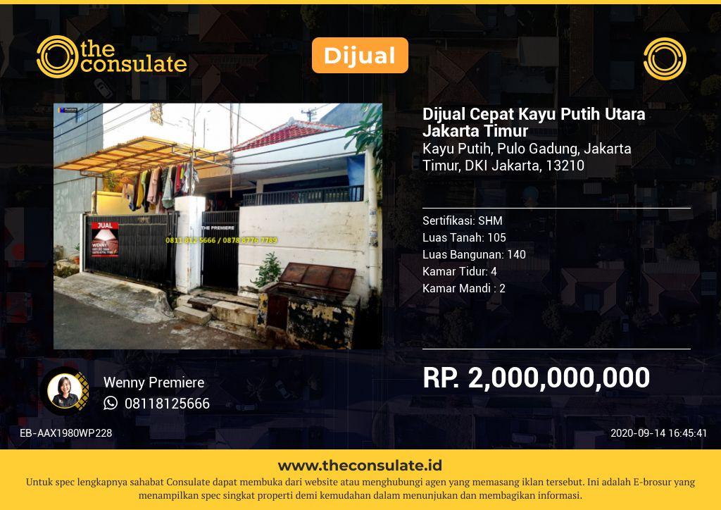 Dijual Cepat Kayu Putih Utara Jakarta Timur