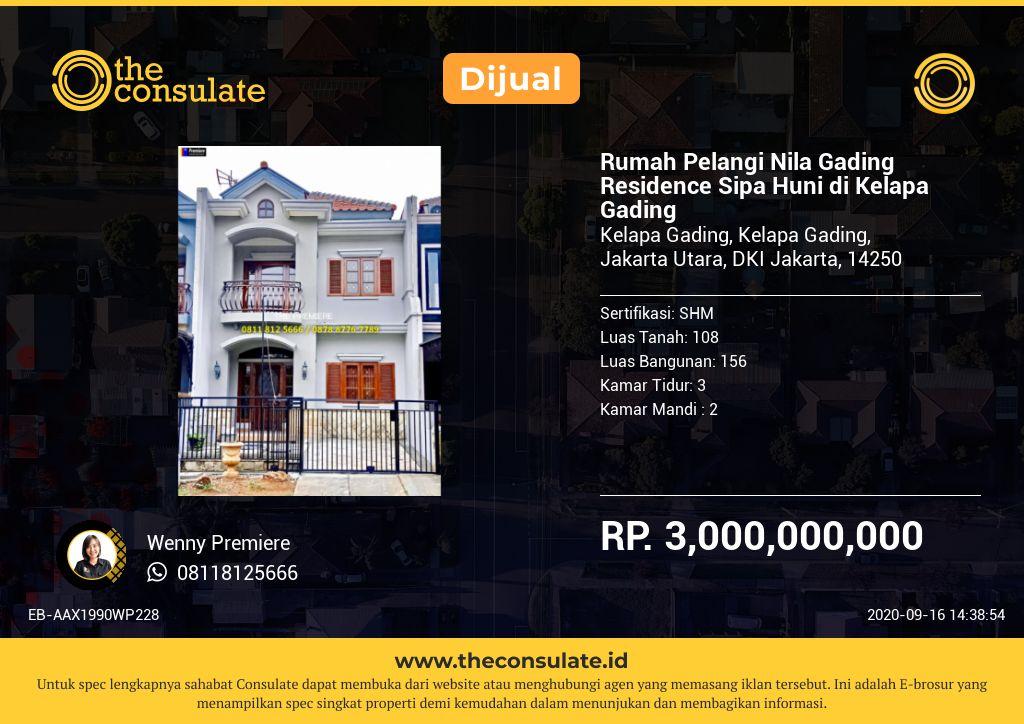 Rumah Pelangi Nila Gading Residence Sipa Huni di Kelapa Gading
