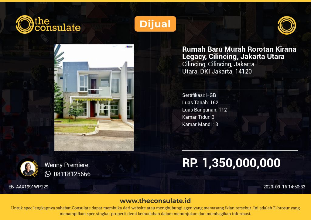 Rumah Baru Murah Rorotan Kirana Legacy, Cilincing, Jakarta Utara