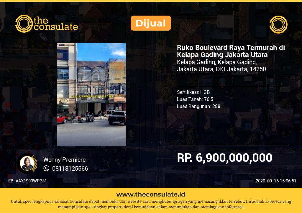 Ruko Boulevard Raya Termurah di Kelapa Gading Jakarta Utara