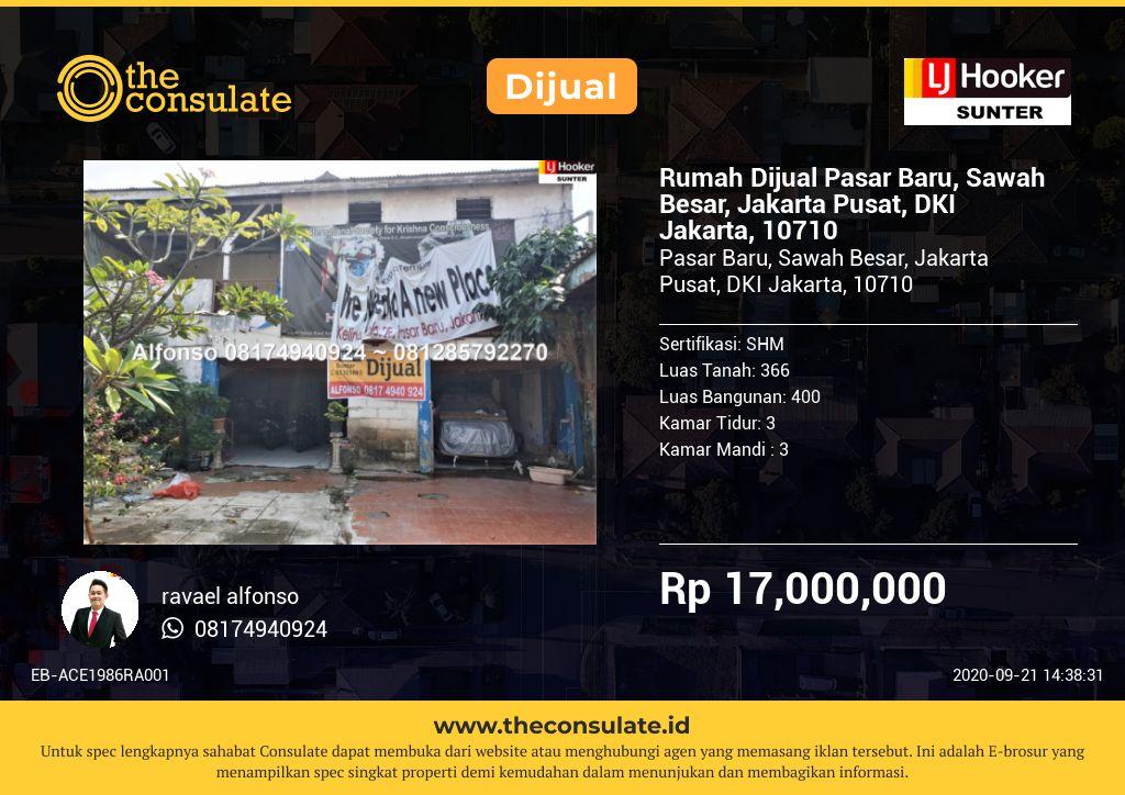 Rumah Dijual Pasar Baru, Sawah Besar, Jakarta Pusat, DKI Jakarta, 10710