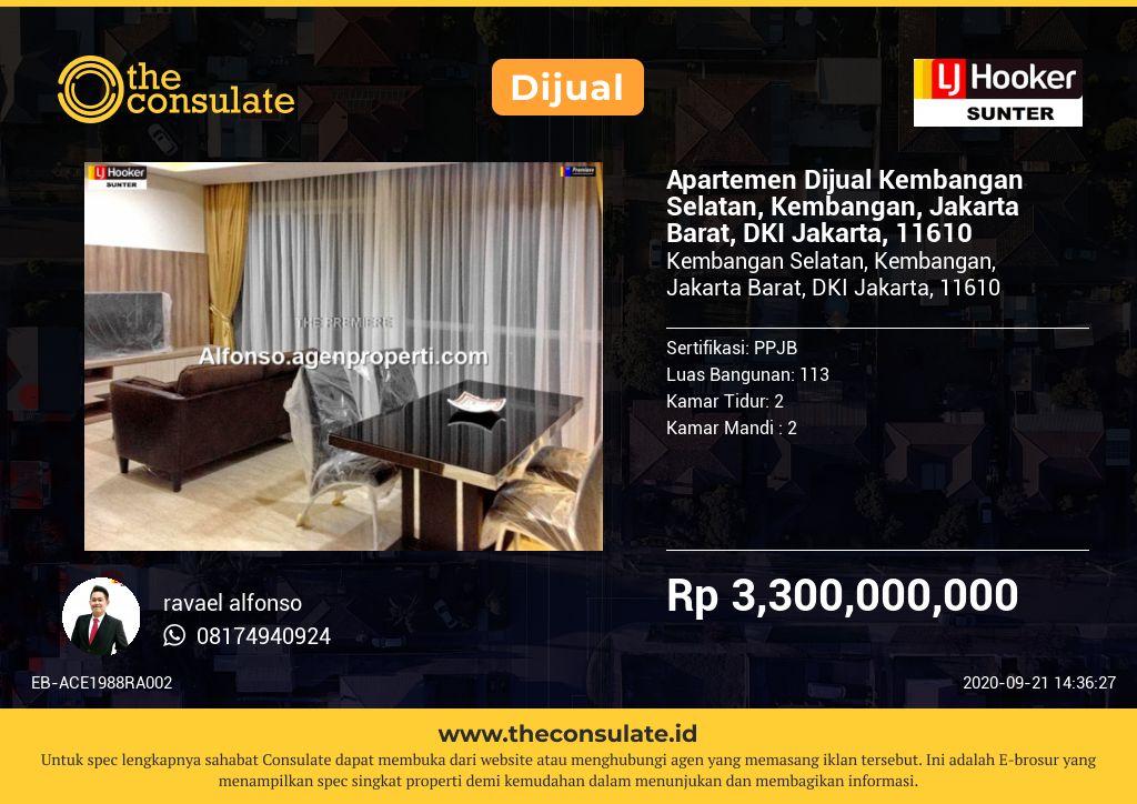 Apartemen Dijual Kembangan Selatan, Kembangan, Jakarta Barat, DKI Jakarta, 11610