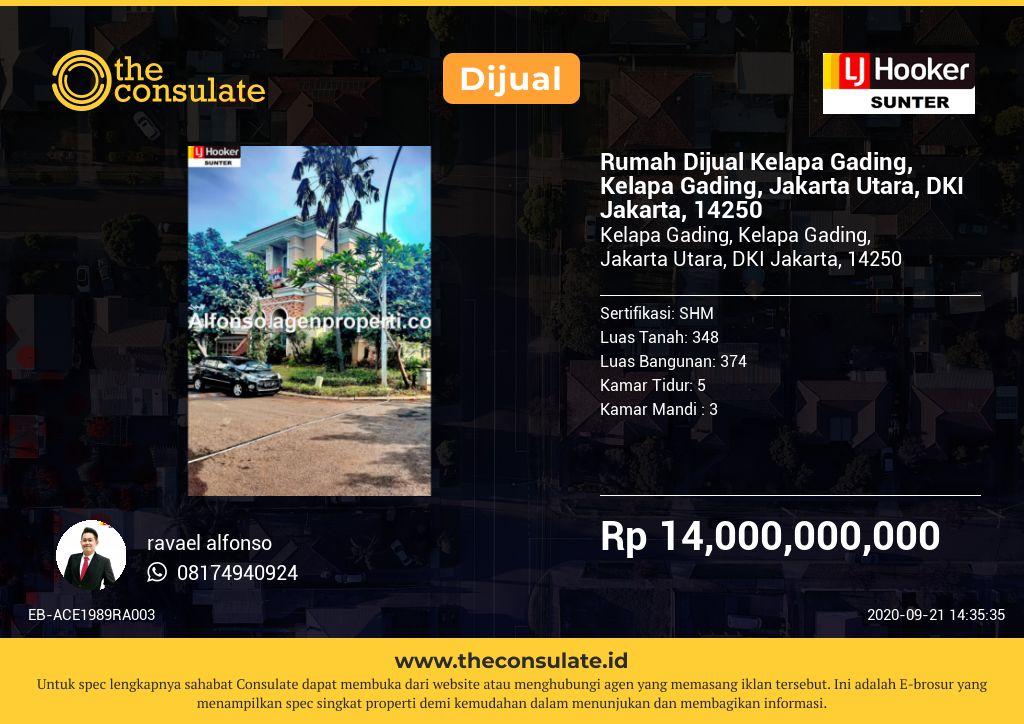 Rumah Dijual Kelapa Gading, Kelapa Gading, Jakarta Utara, DKI Jakarta, 14250
