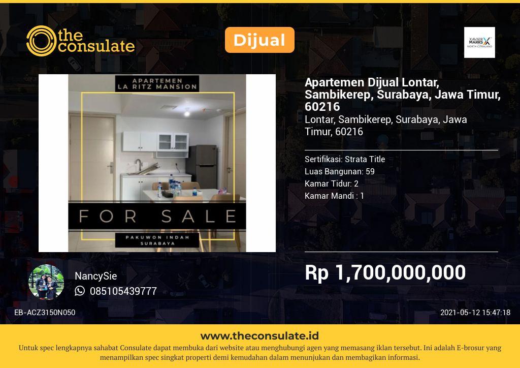 Apartemen Dijual Lontar, Sambikerep, Surabaya, Jawa Timur, 60216