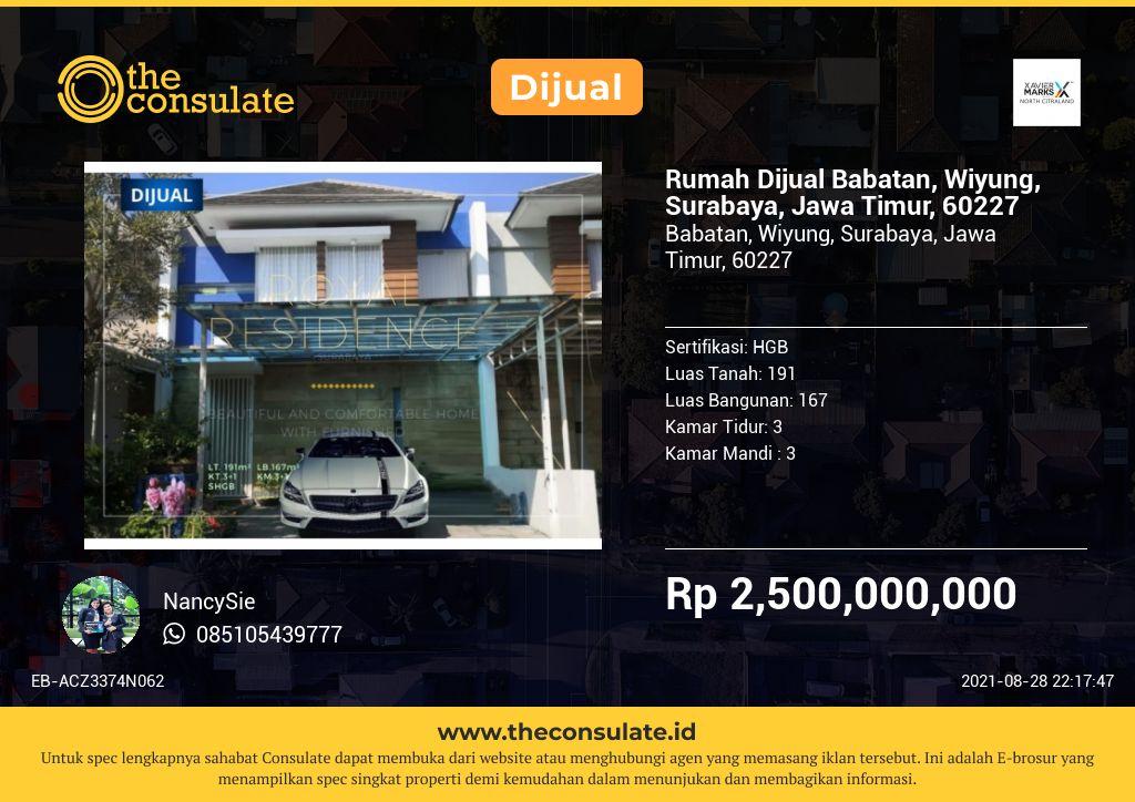 Rumah Dijual Babatan, Wiyung, Surabaya, Jawa Timur, 60227