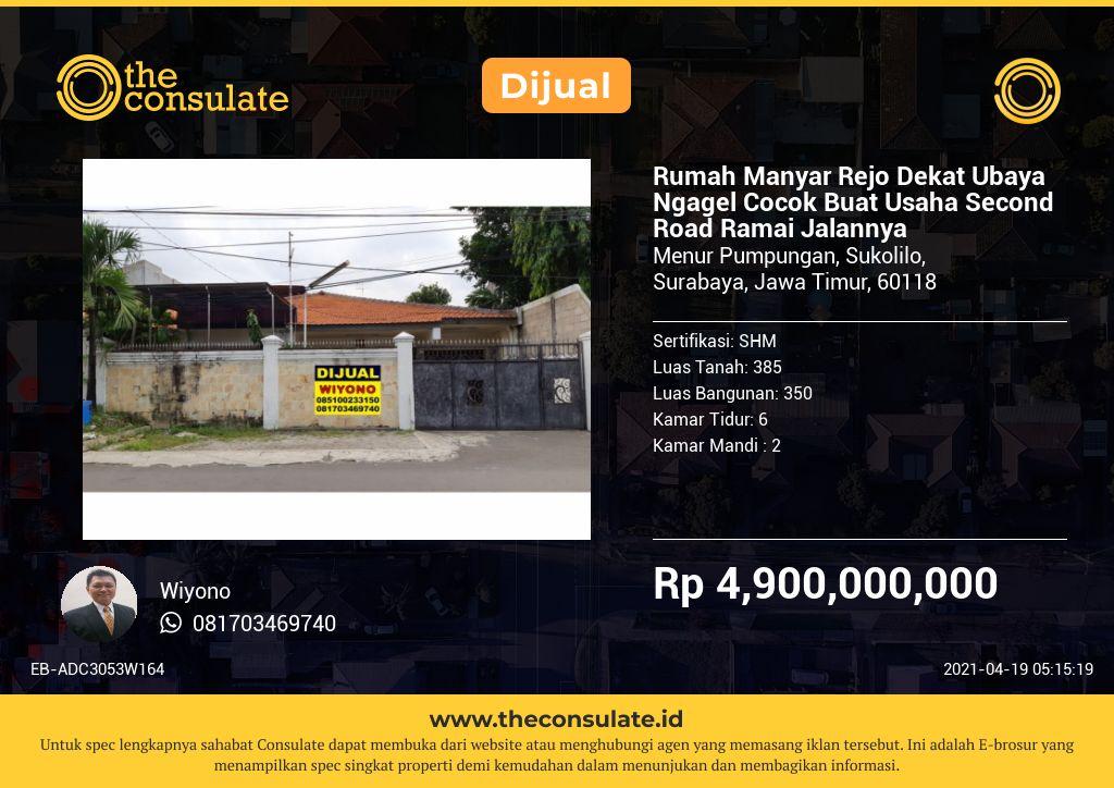 Rumah Manyar Rejo Dekat Ubaya Ngagel Cocok Buat Usaha Second Road Ramai Jalannya
