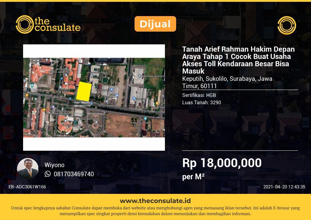 Tanah Arief Rahman Hakim Depan Araya Tahap 1 Cocok Buat Usaha Akses Toll Kendaraan Besar Bisa Masuk