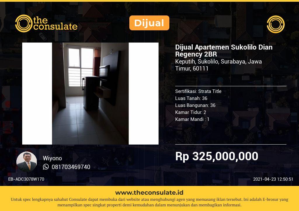Dijual Apartemen Sukolilo Dian Regency 2BR