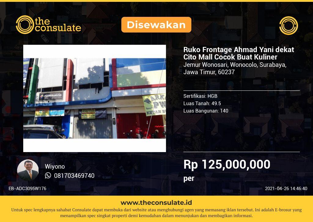 Ruko Frontage Ahmad Yani dekat Cito Mall Cocok Buat Kuliner
