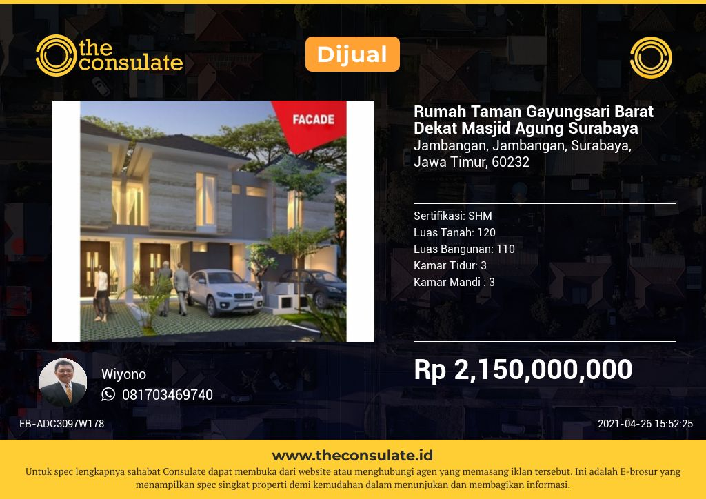 Rumah Taman Gayungsari Barat Dekat Masjid Agung Surabaya
