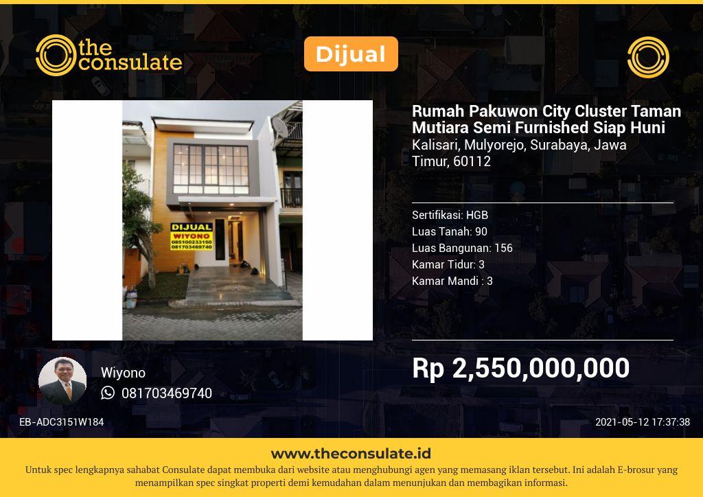 Rumah Pakuwon City Cluster Taman Mutiara Semi Furnished Siap Huni