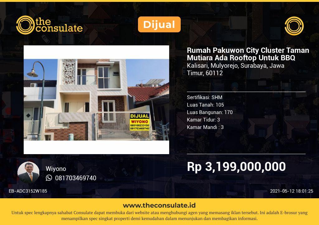 Rumah Pakuwon City Cluster Taman Mutiara Ada Rooftop Untuk BBQ