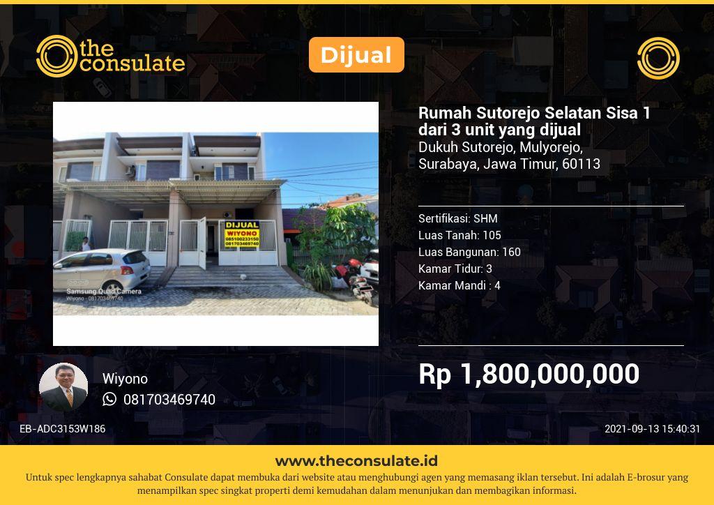 Rumah Sutorejo Selatan Sisa 1 dari 3 unit yang dijual