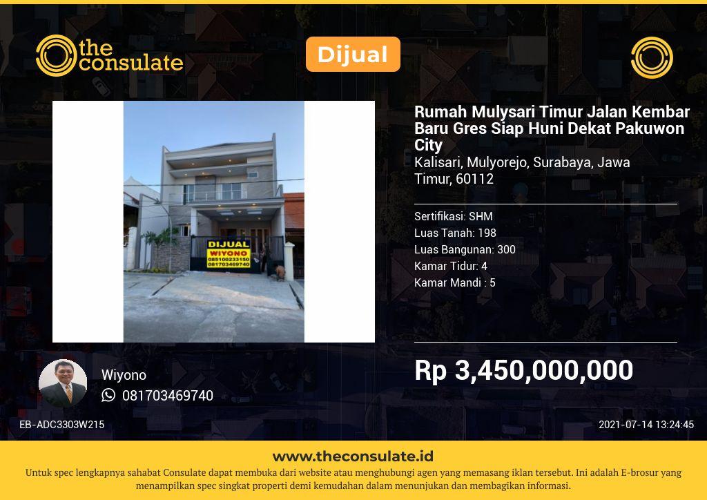 Rumah Mulysari Timur Jalan Kembar Baru Gres Siap Huni Dekat Pakuwon City