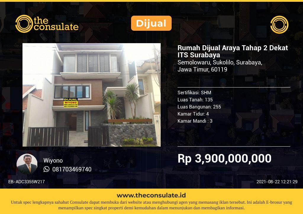 Rumah Dijual Araya Tahap 2 Dekat ITS Surabaya