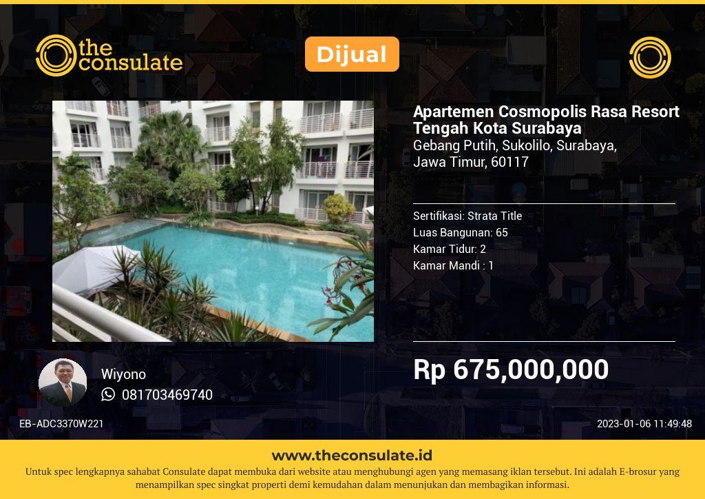 Apartemen Cosmopolis Rasa Resort Tengah Kota Surabaya
