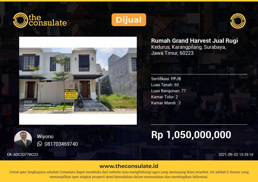 Rumah Grand Harvest Jual Rugi