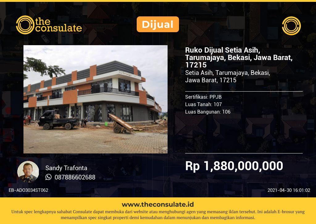 Ruko Dijual Setia Asih, Tarumajaya, Bekasi, Jawa Barat, 17215