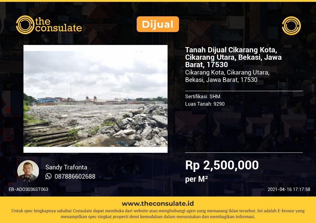 Tanah Dijual Cikarang Kota, Cikarang Utara, Bekasi, Jawa Barat, 17530