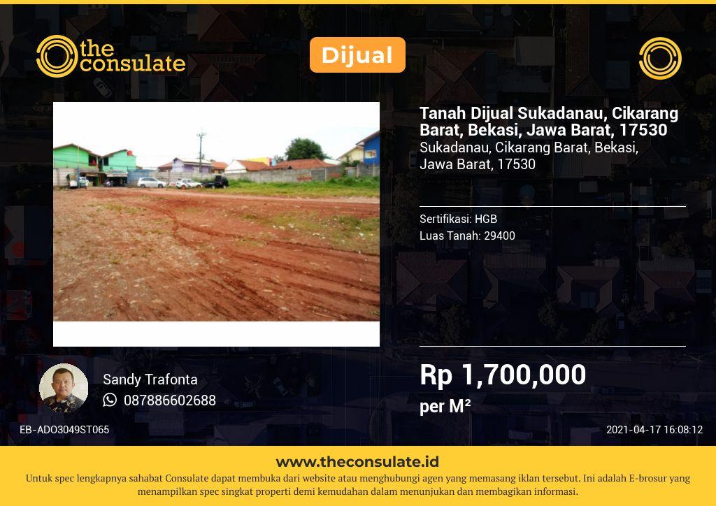 Tanah Dijual Sukadanau, Cikarang Barat, Bekasi, Jawa Barat, 17530