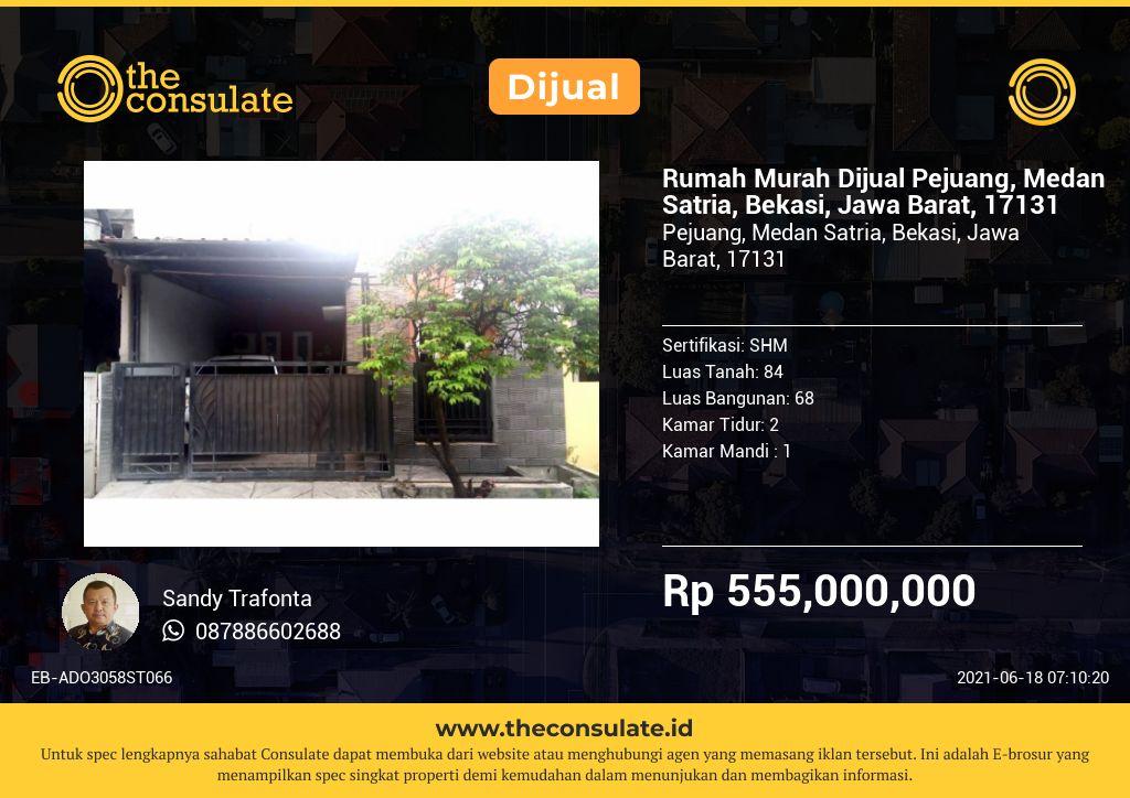 Rumah Murah Dijual Pejuang, Medan Satria, Bekasi, Jawa Barat, 17131