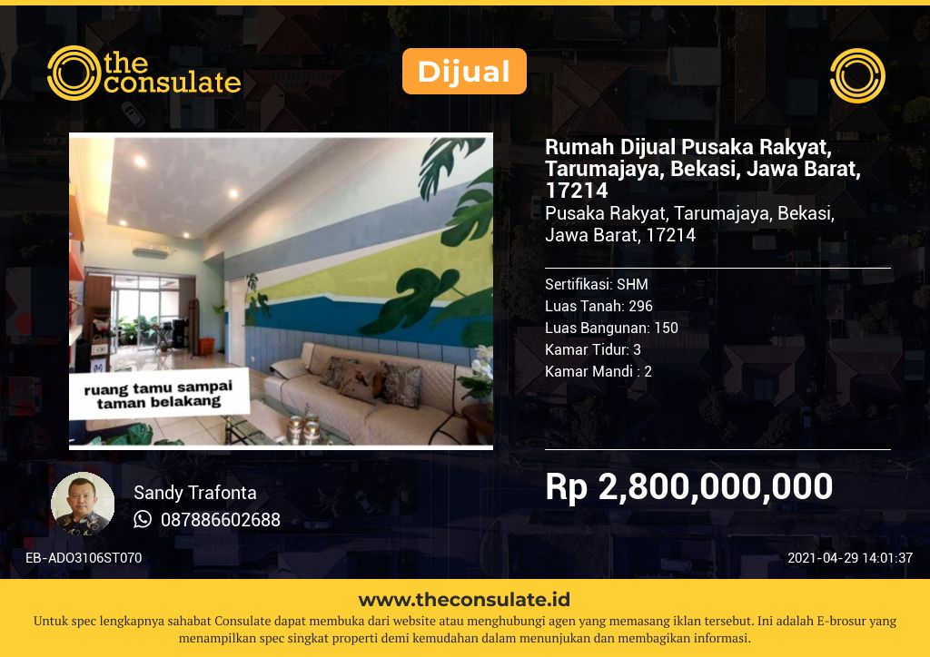 Rumah Dijual Pusaka Rakyat, Tarumajaya, Bekasi, Jawa Barat, 17214