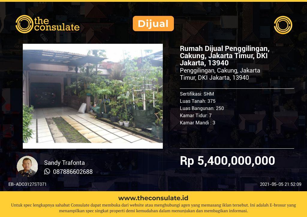 Rumah Dijual Penggilingan, Cakung, Jakarta Timur, DKI Jakarta, 13940