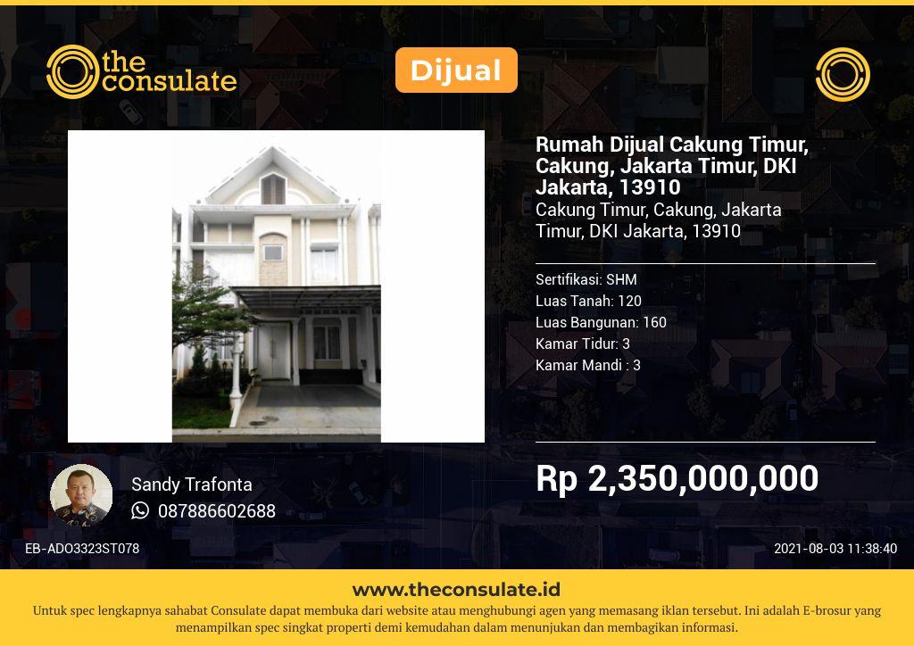 Rumah Dijual Cakung Timur, Cakung, Jakarta Timur, DKI Jakarta, 13910