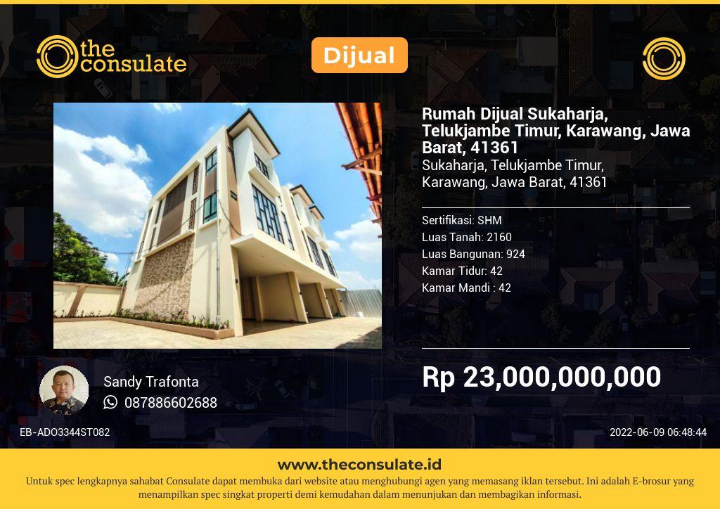 Rumah Dijual Sukaharja, Telukjambe Timur, Karawang, Jawa Barat, 41361