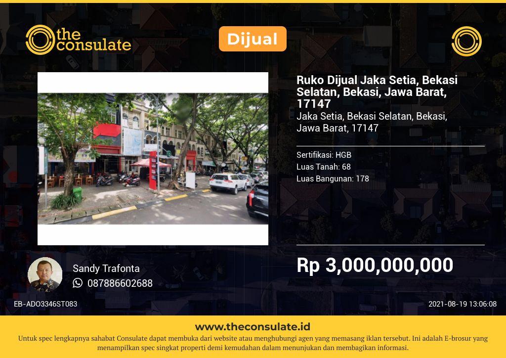 Ruko Dijual Jaka Setia, Bekasi Selatan, Bekasi, Jawa Barat, 17147