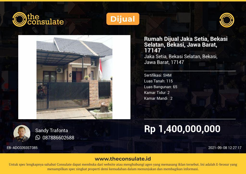 Rumah Dijual Jaka Setia, Bekasi Selatan, Bekasi, Jawa Barat, 17147