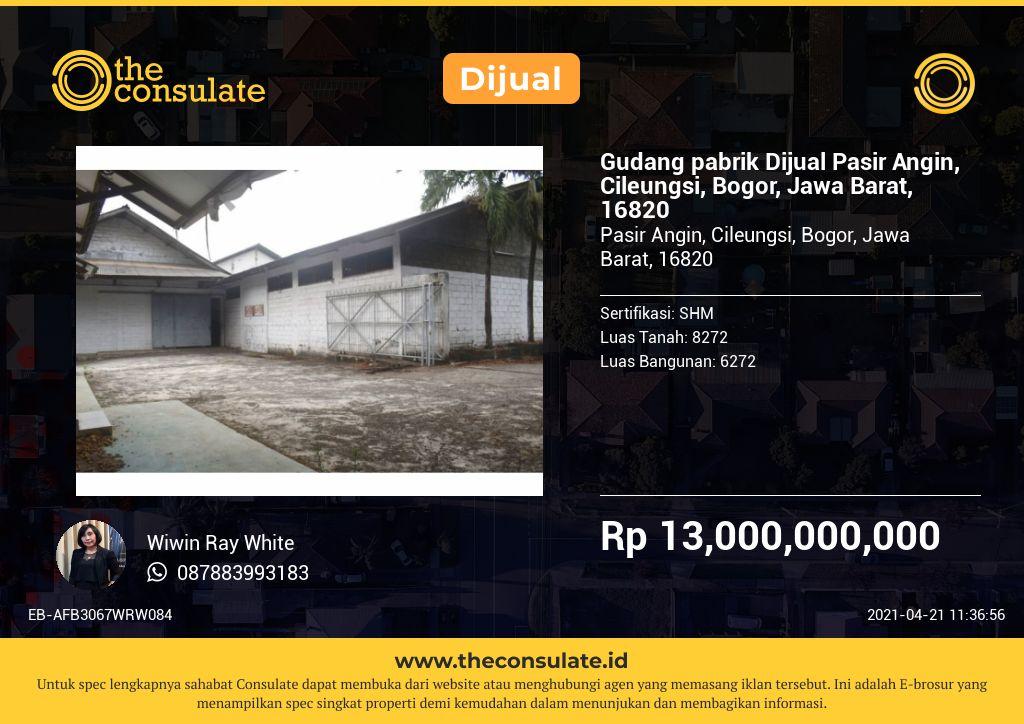 Gudang pabrik Dijual Pasir Angin, Cileungsi, Bogor, Jawa Barat, 16820