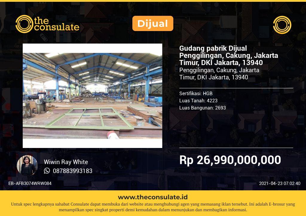 Gudang pabrik Dijual Penggilingan, Cakung, Jakarta Timur, DKI Jakarta, 13940