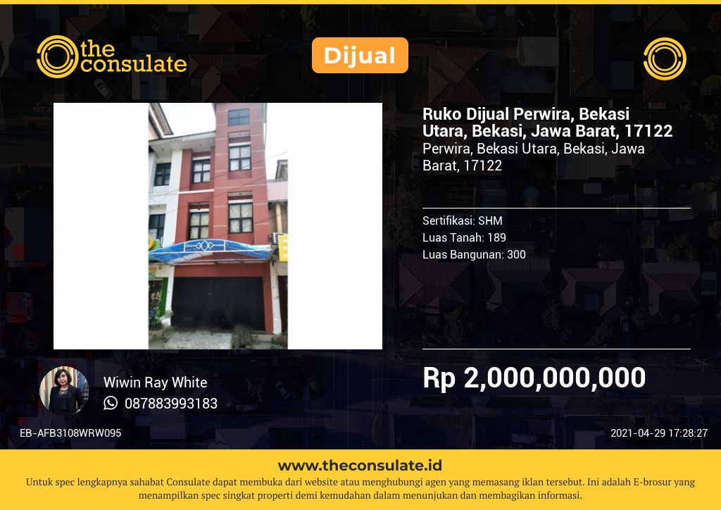 Ruko Dijual Perwira, Bekasi Utara, Bekasi, Jawa Barat, 17122
