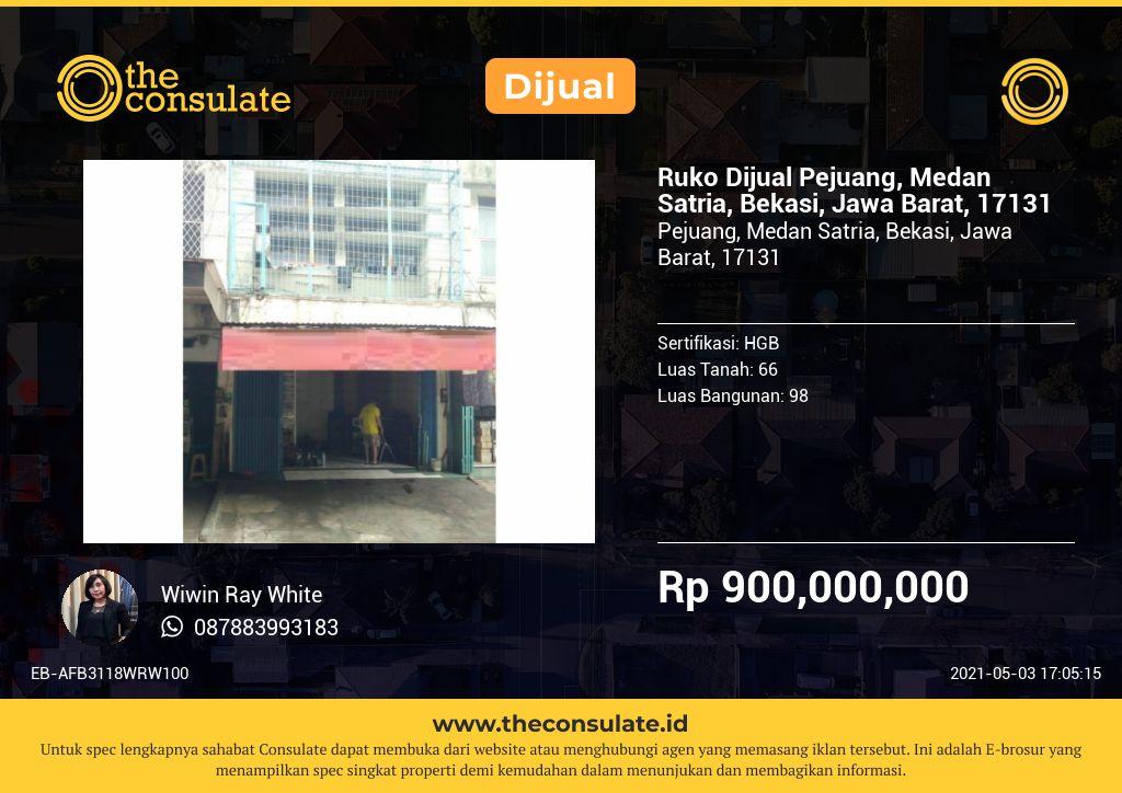 Ruko Dijual Pejuang, Medan Satria, Bekasi, Jawa Barat, 17131