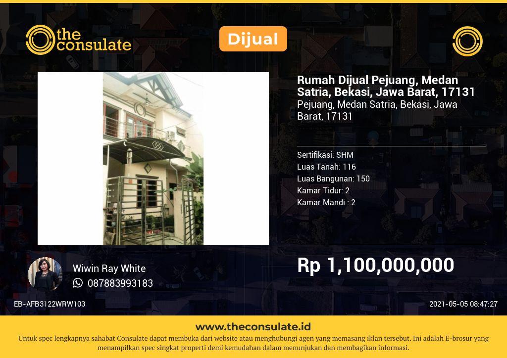 Rumah Dijual Pejuang, Medan Satria, Bekasi, Jawa Barat, 17131