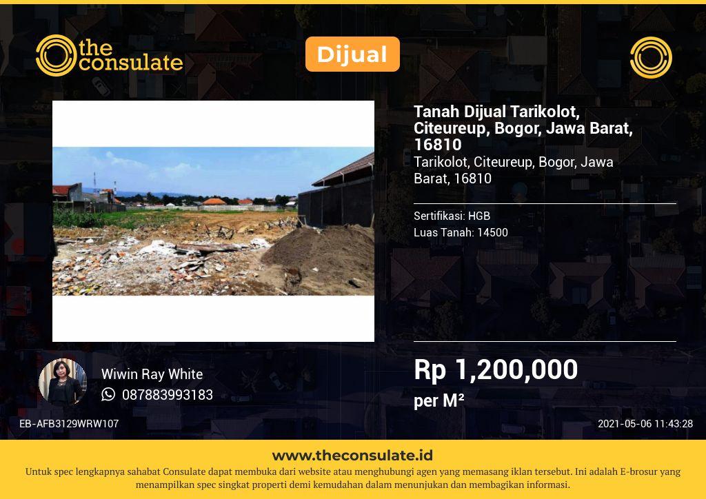 Tanah Dijual Tarikolot, Citeureup, Bogor, Jawa Barat, 16810