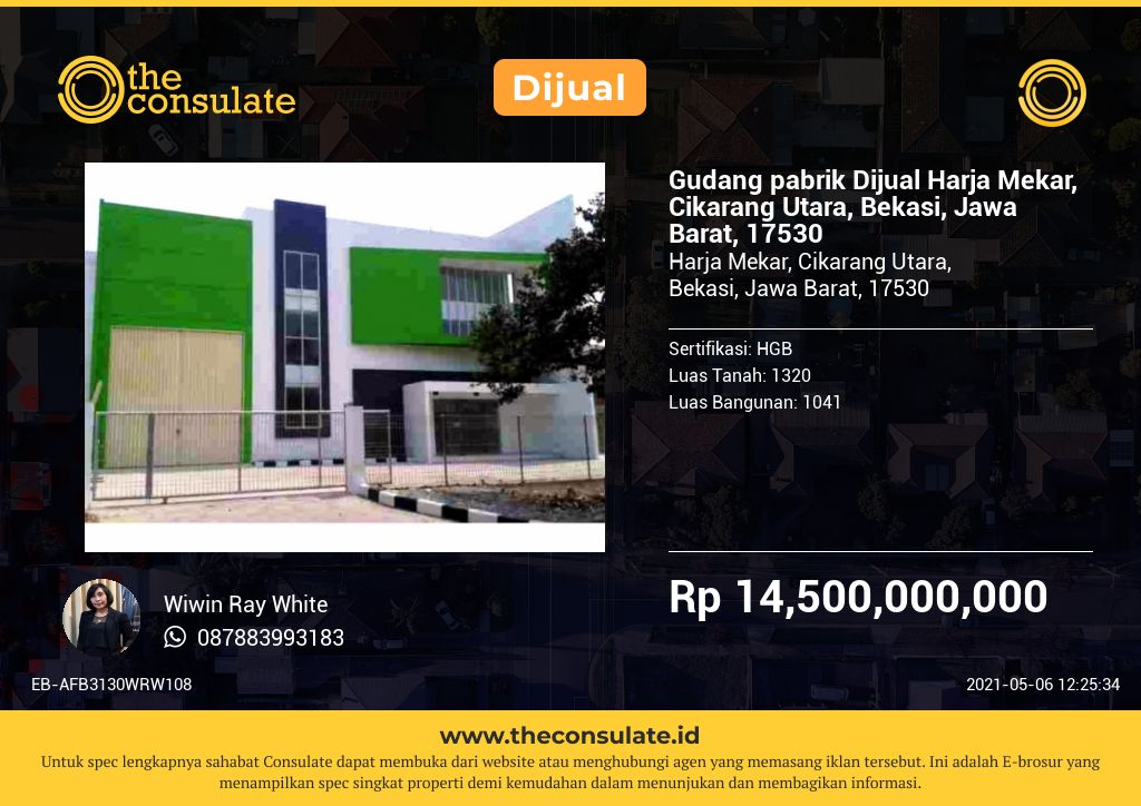 Gudang pabrik Dijual Harja Mekar, Cikarang Utara, Bekasi, Jawa Barat, 17530