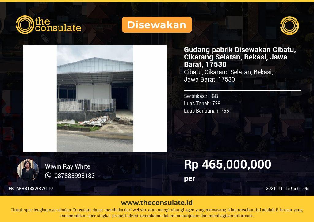 Gudang pabrik Disewakan Cibatu, Cikarang Selatan, Bekasi, Jawa Barat, 17530