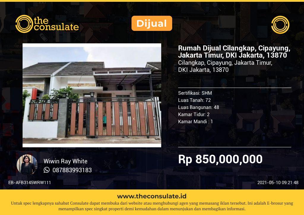 Rumah Dijual Cilangkap, Cipayung, Jakarta Timur, DKI Jakarta, 13870