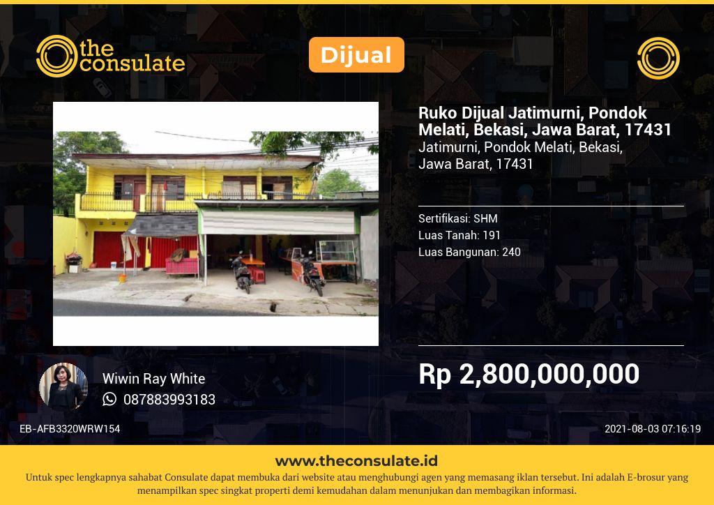 Ruko Dijual Jatimurni, Pondok Melati, Bekasi, Jawa Barat, 17431