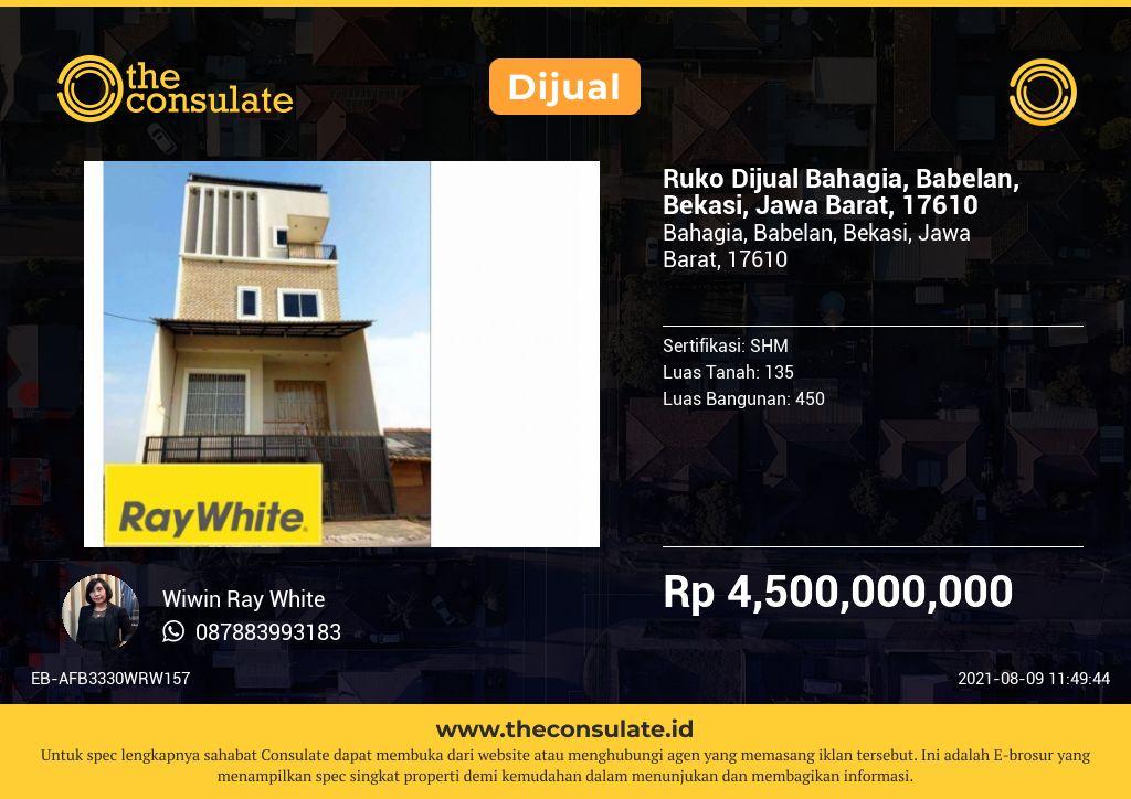 Ruko Dijual Bahagia, Babelan, Bekasi, Jawa Barat, 17610