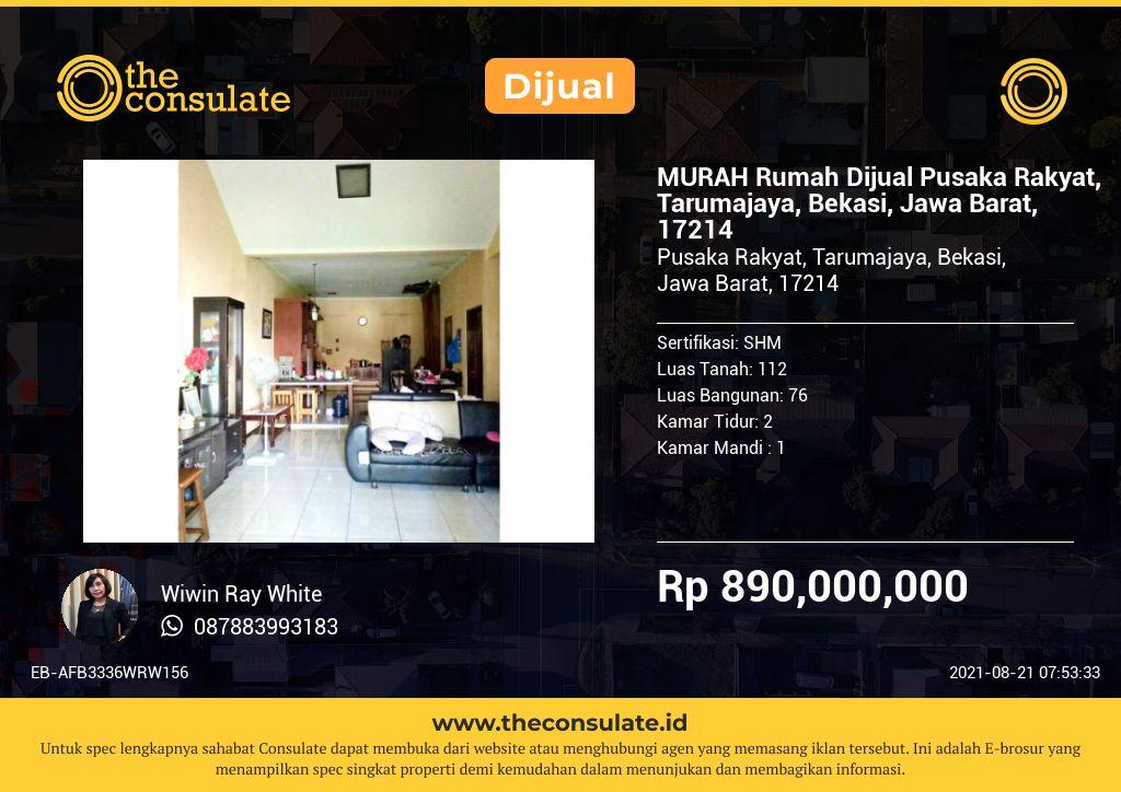 MURAH Rumah Dijual Pusaka Rakyat, Tarumajaya, Bekasi, Jawa Barat, 17214