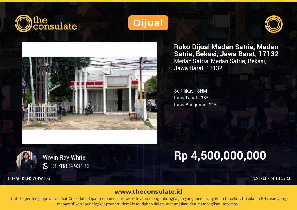 Ruko Dijual Medan Satria, Medan Satria, Bekasi, Jawa Barat, 17132
